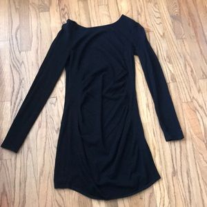 Express black long sleeve bodycon ruched dress M